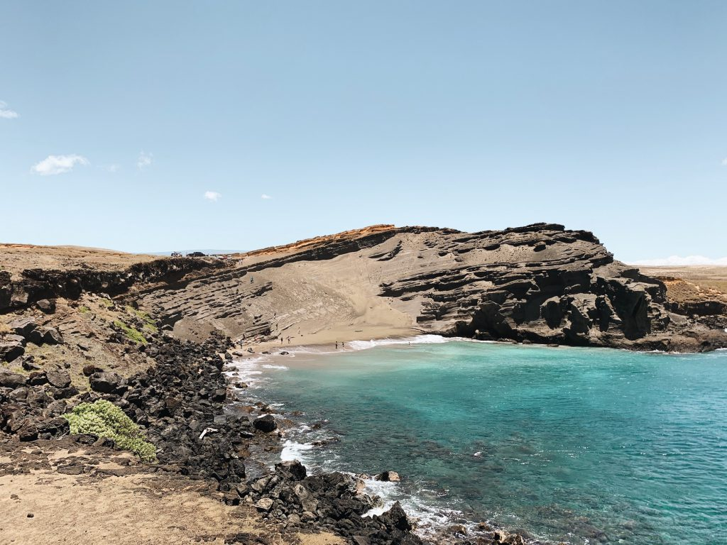 View of Green Sand beach Hawaii
